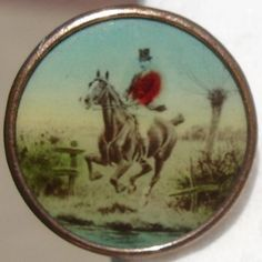 """1890 ANTIQUE """"EDWARDIAN MAN ON HORSE""""LITHOGRAPH WAISTCOAT~VINTAGE PICTURE BUTTON (on EBAY)"""