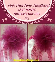Last Minute Mothers Day Gift  Pink Hair Bow Headband  Bowdabra