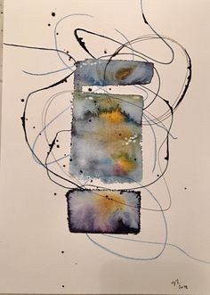 Watercolor, ink, mixedmedia, abstract, abstractart, painting @hostagawa Art Aquarelle, Watercolor Paintings Abstract, Watercolor And Ink, Painting & Drawing, Painting Lessons, Abstract Oil, Zen Art, Art Drawings, Collage Art
