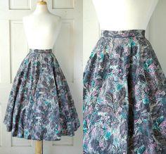 1950s Neiman Marcus Skirt / Vintage Fauna Print by DalenaVintage, $75.00