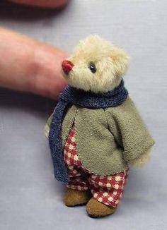 Tiny Blue Suede Thimble Bear World of Miniature Bears Dollhouse Miniatures