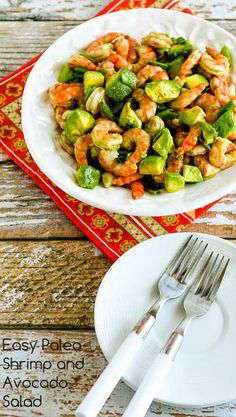 Easy Paleo Shrimp and Avocado Salad found on KalynsKitchen.com