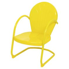 Yellow Outdoor Arm Chair....I remember these retro slightly rocking metal chairs from childhood...Ours we painted ever summer in yellow, orange & green... :)
