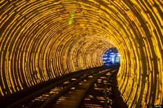 Photo clicks through to a list of all the coolest TUNNELS in the world. This here's the Bund Sightseeing Tunnel in Shanghai, China. Trippy! Wish we had light tunnels here in the States - so gorgeous.