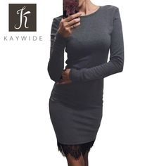Kaywide Lace Patchwork Women Dress O Neck Casual Bodycon Party dresses With Tassel  Plus Size Long Sleeve Ladis Dress Vestidos http://s.click.aliexpress.com/e/fiai2Fq