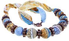 Collane di stoffa fai da te - Girocollo di perle e stoffa