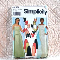 7219 SIMPLICITY Uncut PATTERN 2002 Women Evening Slim or Flared Long Skirt Lined Top Shaped Hem Sleeve Neck Variations Size 6 8 10 12 5-oz