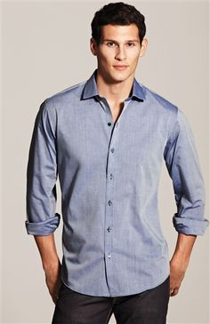 Blue solid men's sport shirt. Perfect fit, versatile, easy to wear.