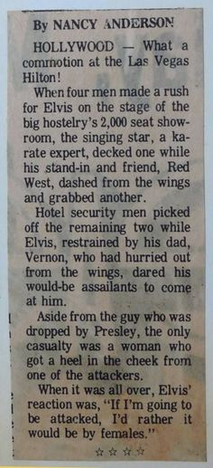 Elvis rushed by 4 men on stage. Guess who won that fight?