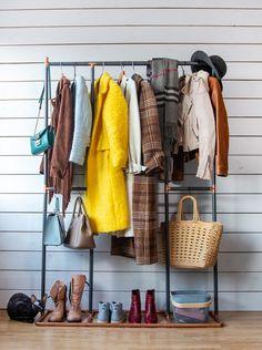 e1a304fda Handmade minimalist interior wood and copper clothes hanger dispaly frame  rack wardrobe storage stand rail