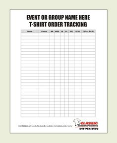 Printable Group Shirt Order Form  Google Search  Chowdhury