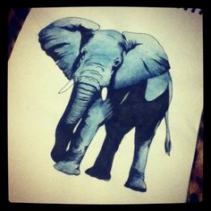 elephant tattoo. Love this pose but where is the other front shoulder and leg? And back shadowed leg looks weird. And trunk up