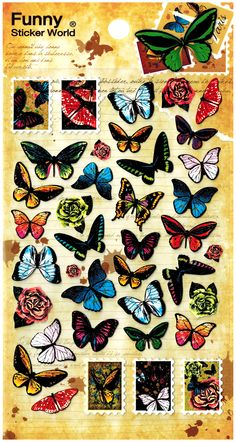 Funny Sticker World Butterflies Die-Cut Sticker Sheet