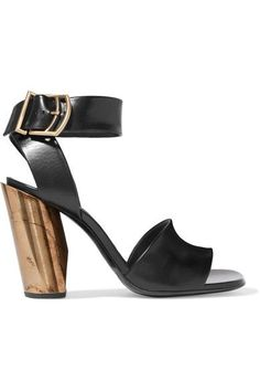 Heel measures approximately 95mm/ 4 inches Black leather Buckle-fastening ankle strap Made in Italy
