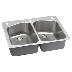 Elkay 18-gauge Stainless Steel (Silver) 33-inch Double Bowl Dual Universal Mount Kitchen Sink Kit - Stainless Steel (Stainless Steel)