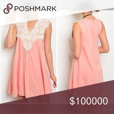 Intricate crochet detail peach sleeveless dress! So feminine and easy to wear! Love this piece for spring- 100% Rayon can be worn as a tunic or dress Dresses