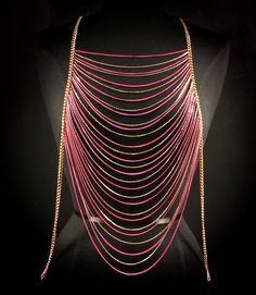 Body Chain Pink Gold Draping Metal Chains Dress Armor Avant Garde Designer Fashion Statement