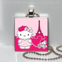 PINK Hello Kitty Paris Eiffel Tower Glass Tile by Pendantmonium, $6.00