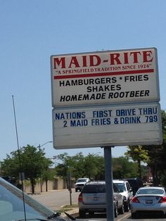 Maid Rite Sandwich Shop, Route 66 -  Springfield, Illinois ~ nation's first drive thru, started 1921
