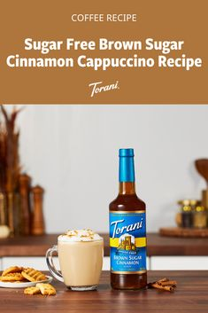This sugar free brown sugar cinnamon cappuccino recipe is made with Torani syrups. This cappuccino recipe is sweet and easy to make at home. Grab our full cappuccino recipe here! How To Make Coffee, Making Coffee, Sugar Free Coffee Syrup, Easy Mocktails, Cappuccino Recipe, Cinnamon Syrup, Coffee Drink Recipes, Us Foods, Hot Sauce Bottles