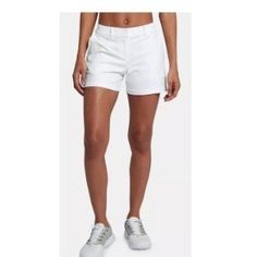 NWOT Nike Women's White Flex Golf Shorts Size 2 Style: 394662-100 Dri-fit  Condition: new without tags, no flaws  93% Polyester, 7% Spandex  Measurements laying flat: Waist: 14 inches Rise: 8.5 inches Inseam: 5 inches Length: 13.5 inches  Smoke and pet free home. Fast shipping. Nike Golf shorts, summer shorts, white golf shorts A0570 - N Nike Golf, Summer Shorts, Nike Shorts, Nike Women, Size 2, Casual Shorts, Flaws, Smoke, Spandex
