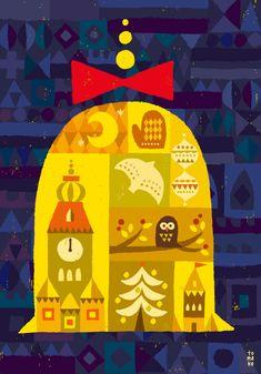 Mod Christmas Bell by illustrator Suzuki Tomoko Christmas Fashion, Retro Christmas, Christmas Design, Christmas Art, Christmas Images, Love Illustration, Christmas Illustration, Character Illustration, Scandinavian Folk Art