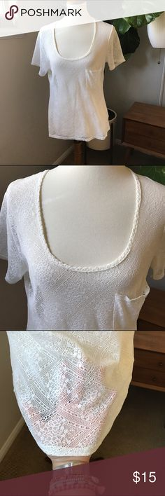"Urban outfitters cream lace T-shirt size Large Urban outfitters Kimchie Blue cream lace T-shirt size Large.  See Through.  Perfect for Coachella and festivals.  Has a pocket.  Bust 19"" Length 23.5"". Bundle and save  Urban Outfitters Tops Tees - Short Sleeve"