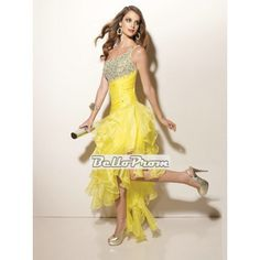 A-line One Shoulder Tea Length with Beadings Prom Dress PD33707 at belloprom.com
