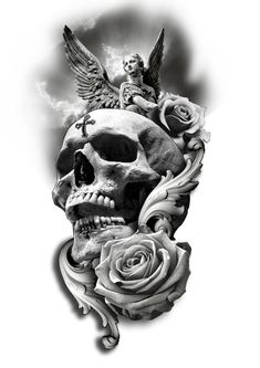 Skull Rose Angel Tattoo Design - My Tattoo Designs -You can find Skull tattoos and more on our website.Skull Rose Angel Tattoo Design - My Tattoo Designs - Skull Tattoo Flowers, Skull Rose Tattoos, Skull Sleeve Tattoos, Tribal Tattoos, Evil Skull Tattoo, Clock Tattoo Design, Tattoo Design Drawings, Skull Tattoo Design, Angel Tattoo Designs