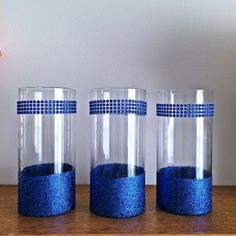 3 Royal blue Vases, Centerpiece,  Glass Vases, Gold Vase, Baby Shower Centerpiece, Bridal Shower Centerpiece, Centerpiece for Table by EverydayDesignEvents on Etsy