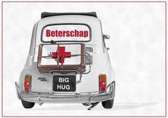 Beterschap kaart met Fiat 500 (rugzakje). Online Friends, Get Well Soon, Get Well Cards, Wells, Hugs, Invitations, Fiat 500, Romantic Quotes, Facebook