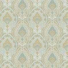 Blue and Taupe Paisley Fabric | Carousel Designs 500x500 image