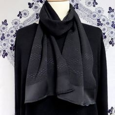 "S102 Black Pure Silk Long slim OPERA Scarf;""AIDA""; one-off; geometric;FORMAL but fluid! ; 54"" by LizzieHuxtable on Etsy"