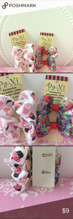 🍬Sweet tooth Bow set🎀 4 bow clips (2 pairs) featuring cupcakes and candy crush characters. Clip is easy to use and hold hair well while keeping the little ones comfortable! Also can be used for adults! If interested in customizing a bundle, please comment and I am happy to work with you 😊. Paxi Accessories Hair Accessories