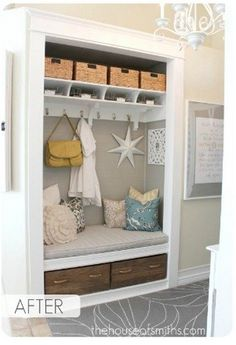 Brilliant: turn a hall closet into a mudroom! I like the shelves and baskets above.