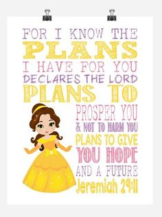Belle Christian Princess Nursery Decor Wall Art Print - For I Know The Plans I Have For You - Jeremiah Bible Verse - Multiple Sizes Nursery Wall Art, Wall Art Decor, Nursery Decor, Boho Nursery, Framed Wall Art, Wall Art Prints, Worship Songs Lyrics, Bible Topics, Princess Nursery