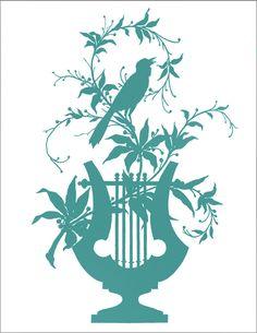 *The Graphics Fairy LLC*: Vintage Clip Art - Amazing Silhouette - Bird Vines Lyre Silhouette Clip Art, Vintage Silhouette, Silhouette Pictures, Graphics Fairy, Free Graphics, Vintage Ephemera, Vintage Clip, Digi Stamps, Vintage Images