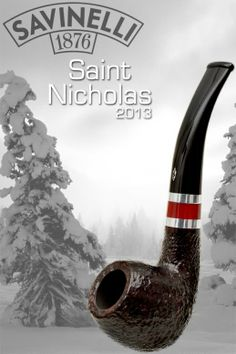 smokingpipes-com:  Savinelli's 2013 Saint Nicholas pipes all feature a rustic, dark, but subtly warm rustication and festive adjoining metal...
