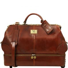 Diese italienische leder Reisetasche hat 1 Fach Reißverschlussfach Multifunktion-Fach Beschläge Gebürstete Messing-Beschläge - € 518,00