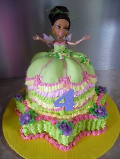 Bratz Pixie Cake - MMF + BC at bottom. The dolls body (waist down) was saran wrapped so that the girl had a present to play with after.