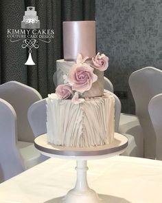 metallic lilac ruffle wedding cake #weddingcakes
