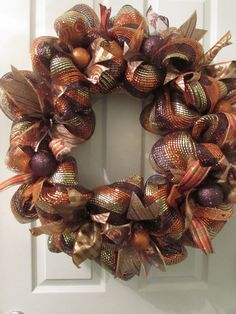 Deco Mesh Wreath for Thanksgiving and the Fall Season | Thanksgiving Day Front Door Wreath | Seasonal Wreath | Deco Mesh Door Decoration
