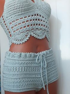 Crochet Top & Shorts You can choose from 4 sizes – XS, S, M, L. This shorts & top could be made by order with your exact size. If you are not sure about what size to select, you can send me next measurements (in inch or cm). * All items can be customized in varieties of colors/sizes to