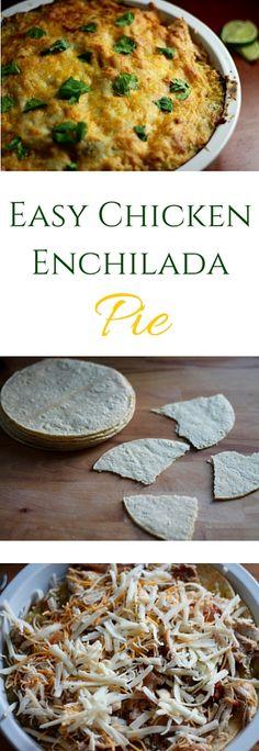 Layers of shredded chicken thighs, tortillas, salsa verde & gooey cheese make this Chicken Enchilada Pie irresistible. Layer, bake & devour!