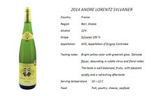 2014 Andre Lorentz Sylvaner. Had it as a Special Wine of February 2016. Quite nice. 85/100