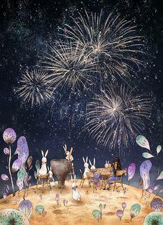 """애뽈 (Aeppol), """"Invitation from the Moon #5 - Fireworks"""".  So.  Wonderful."""