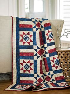 A beautiful patriotic quilt to display in your home or to donate to Quilts of Valor. The Allegiance Quilt kit, with a Star block and easy strip-pieced striped blocks, includes fabric from Northcott's Stars & Stripes collection for the quilt top and binding.