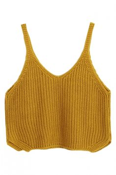 Crop Plain Fashionable V-Neck Knitting Camis - Beautifulhalo.com