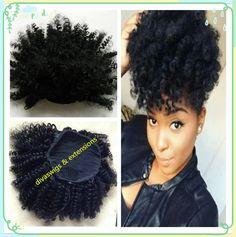 Top grade human hair drawstring ponytail, hair extension kinky twist, tight curly puff pony tail brazillian hair