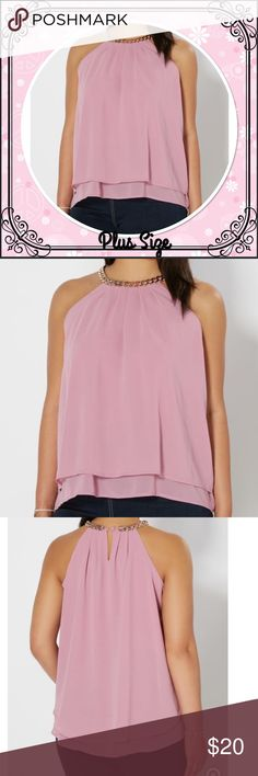 Plus Pink Chain Accent Layered Tank Layer your outfit with this trendy top. This layered chiffon tank features a modern high neck with a unique gold chain accent. Wear it alone to expose the cute back peephole or layer it under a cardi to add sophistication and class to any outfit. Button keyhole. 100% polyester. Machine wash 2X= 18-20 Tops Tank Tops
